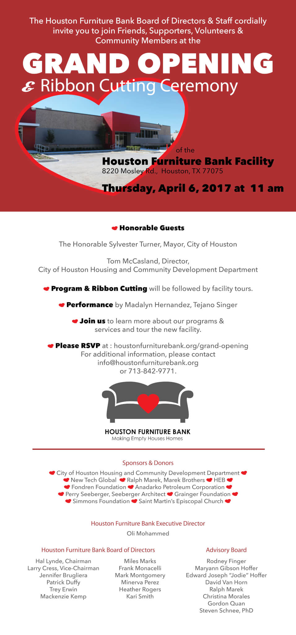 Houston Furniture Bank Grand Opening & Ribbon Cutting Ceremony Invitation