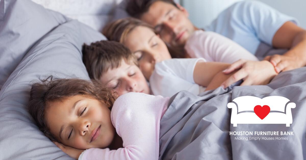Family sleeping; help us support families (houstonfurniturebank.org)