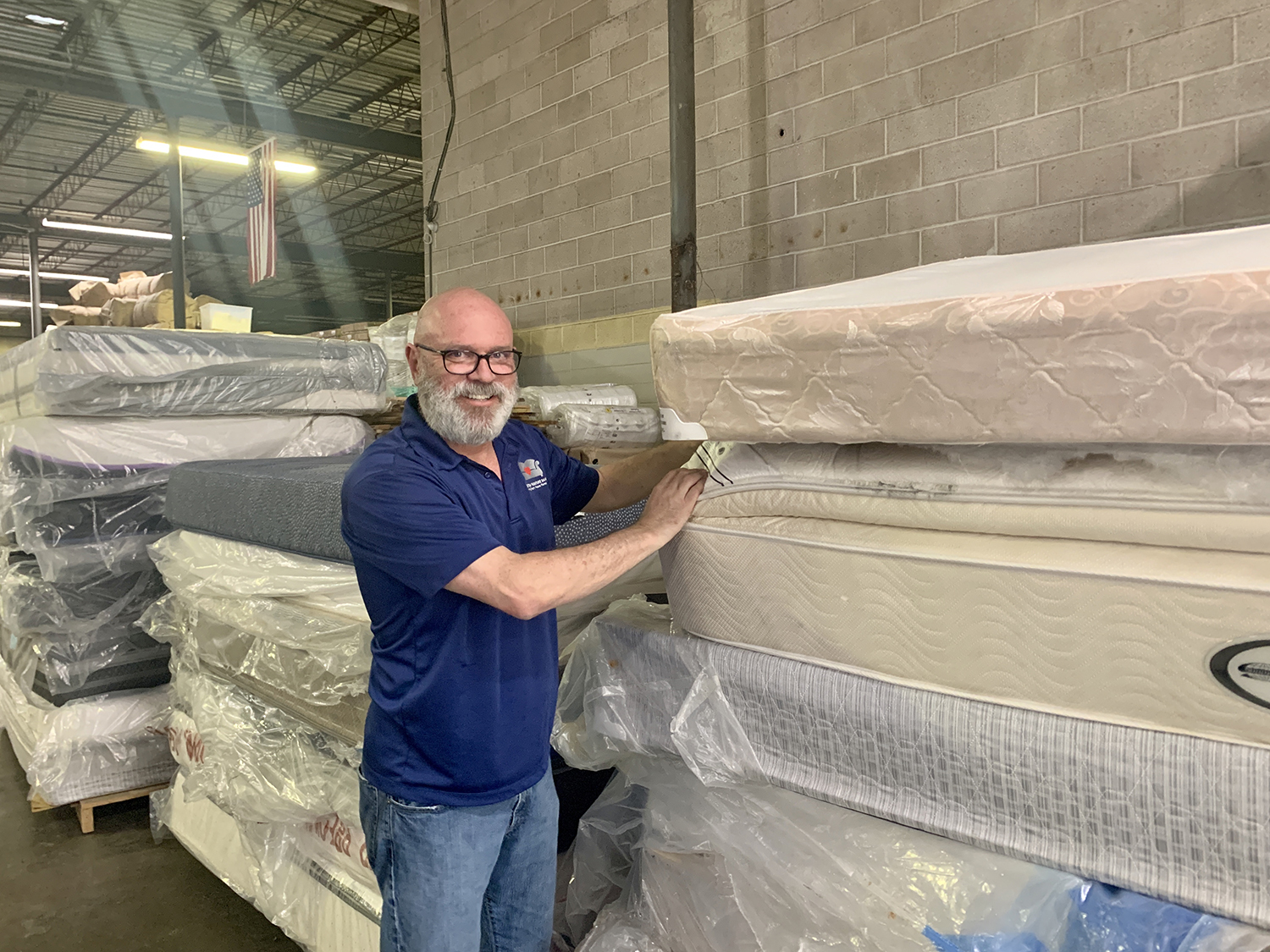 Hal Lynde in the Mattress Recycling Center